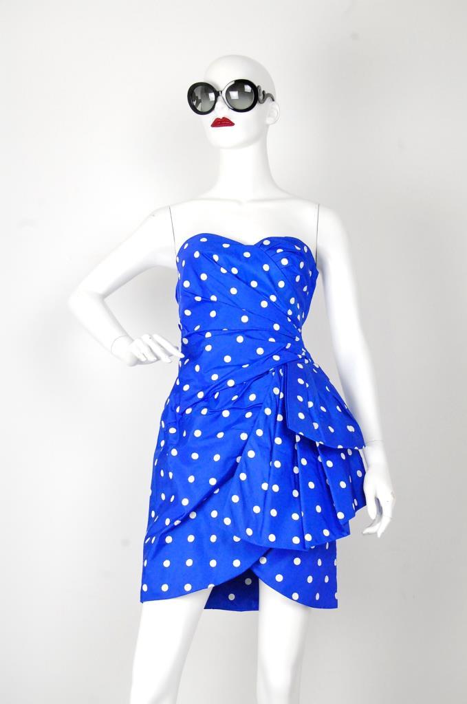 ADR001532 ブルードッド柄ドレス