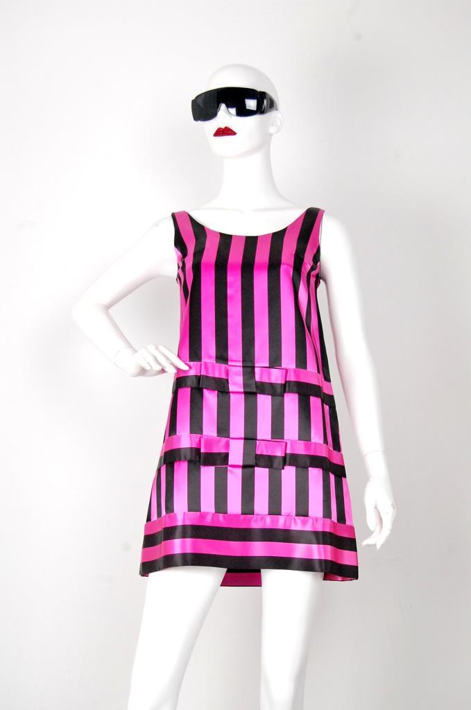 ADR001535 ブラックピンクストライプドレス