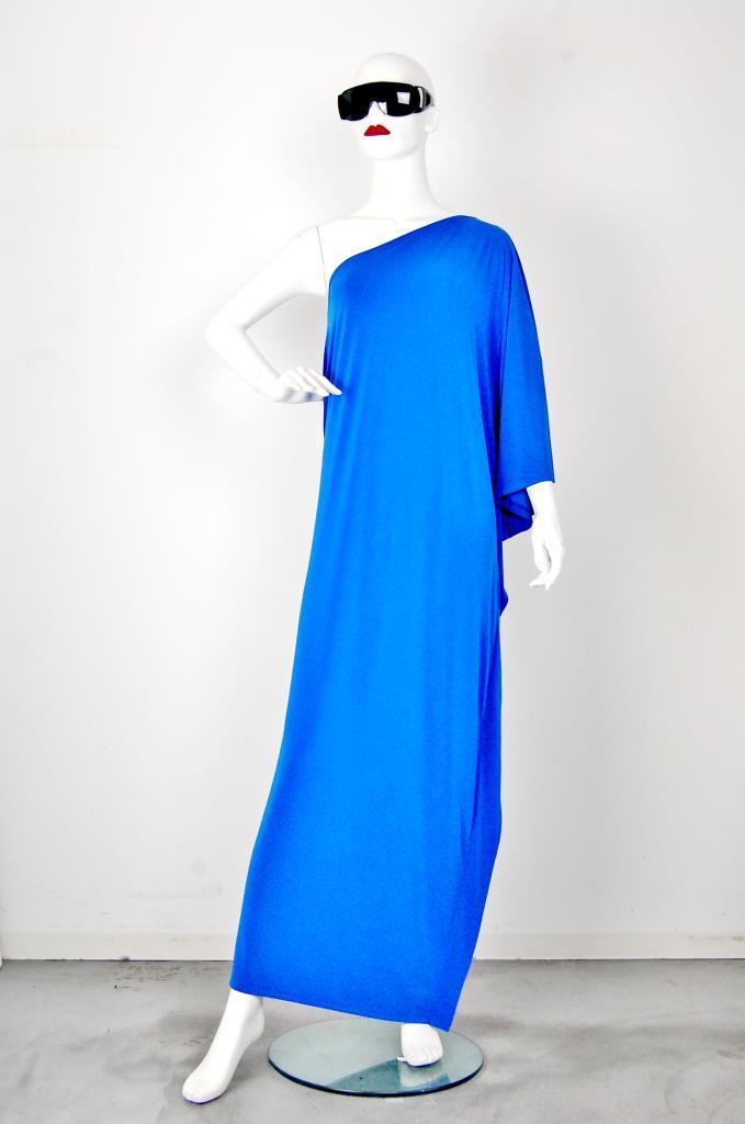 ADR001536 ブルーアシンメトリードレス