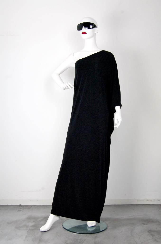 ADR001540 ブラックアシンメトリードレス