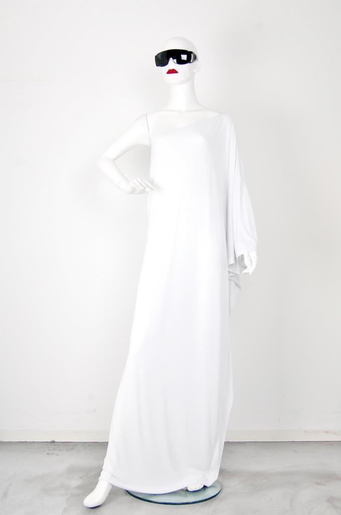 ADR001541 ホワイトアシンメトリードレス