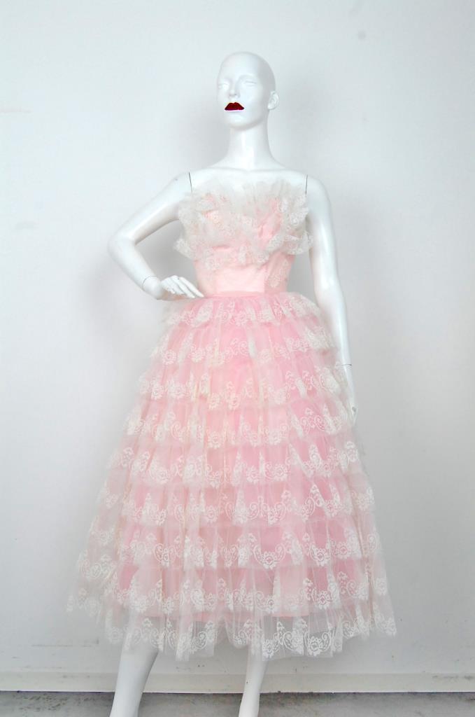 ADR001555 ピンクホワイトレースドレス