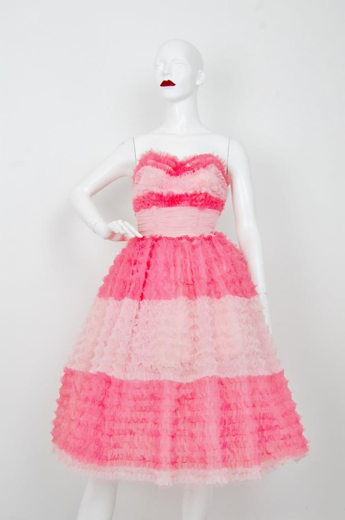 ADR001556 ピンクホワイトレースドレス