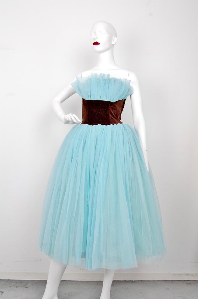 ADR001558 ブルー ブラウンベルトドレス
