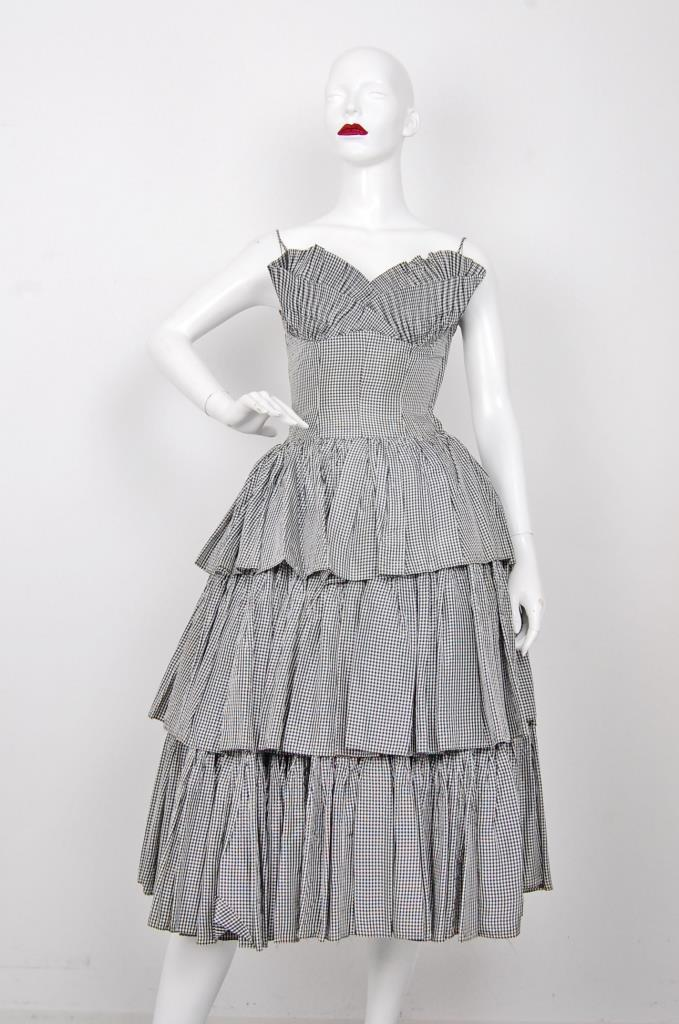 ADR001559 グレーチェック柄ドレス