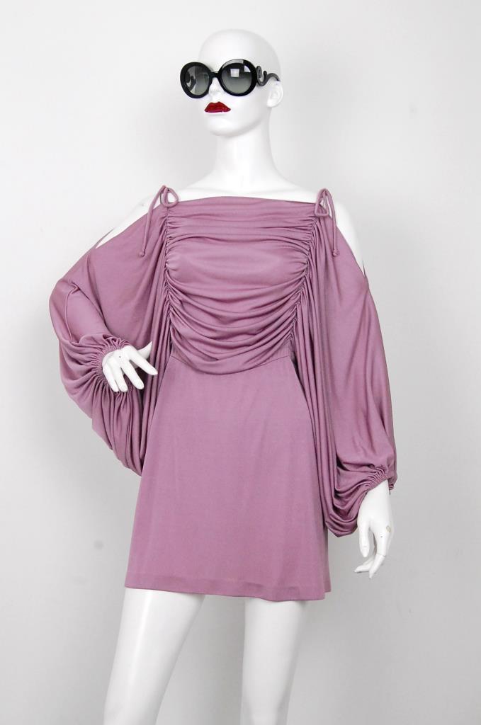 ADR001576 ピンクギャザースリーブドレス