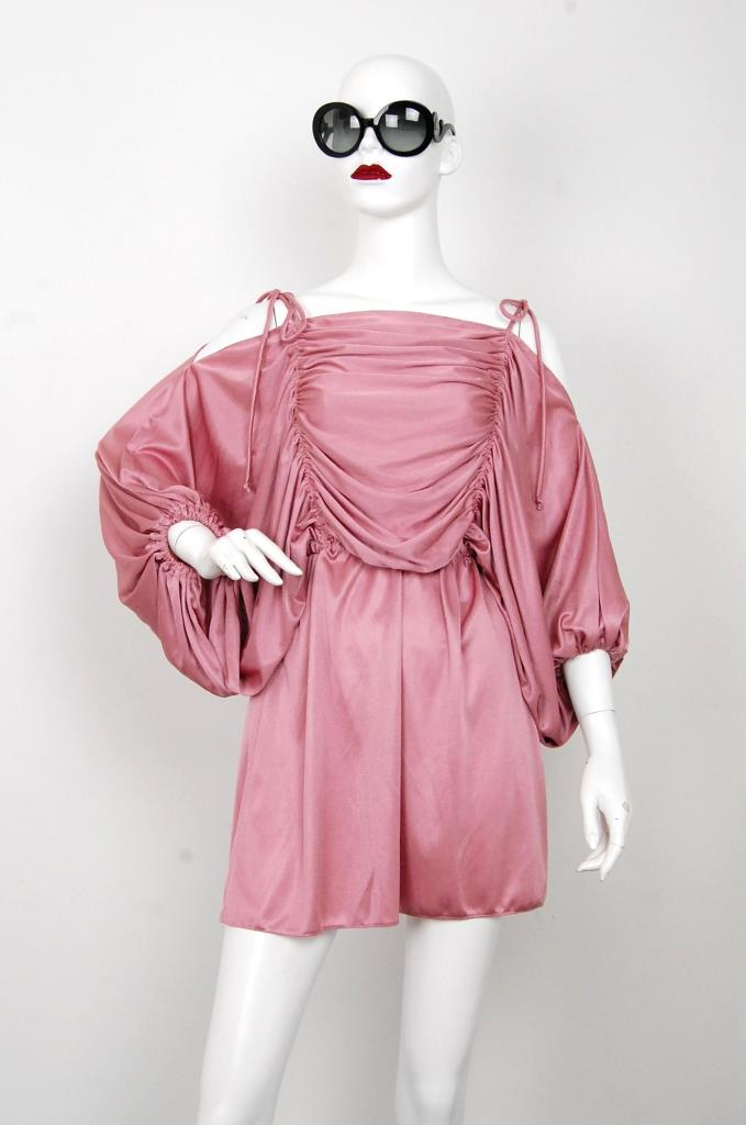 ADR001579 ピンクギャザースリーブドレス