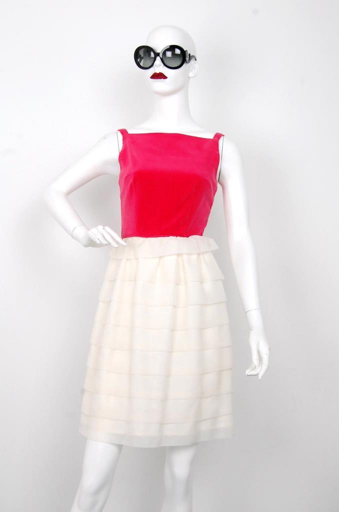 ADR001585 レッド ホワイトスカートドレス