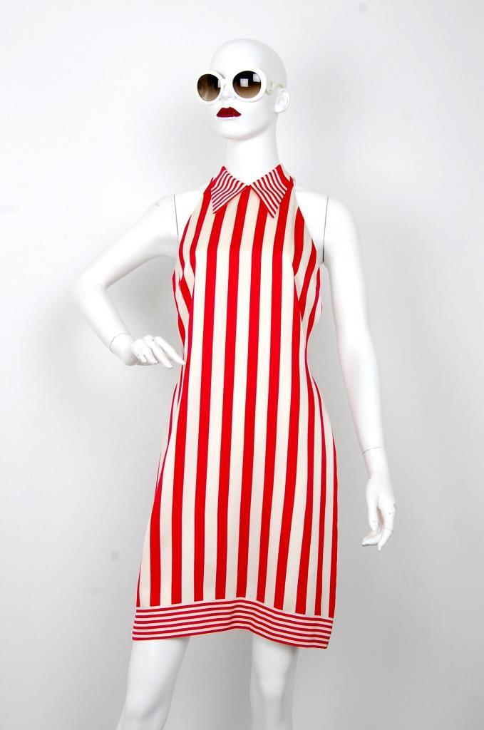 ADR001592 レッドストライプ柄ドレス