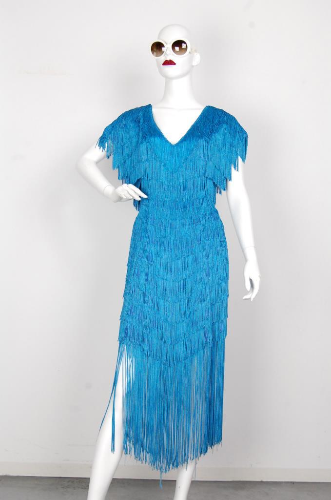 ADR001616 ライトブルーフリンジドレス