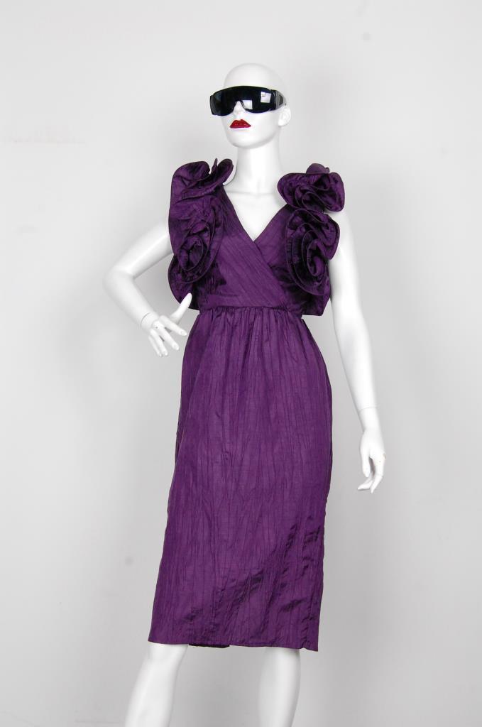 ADR001618 パープルフリルスリーブドレス