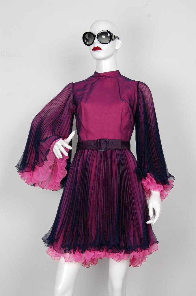ADR001619 ピンクブラックプリーツドレス