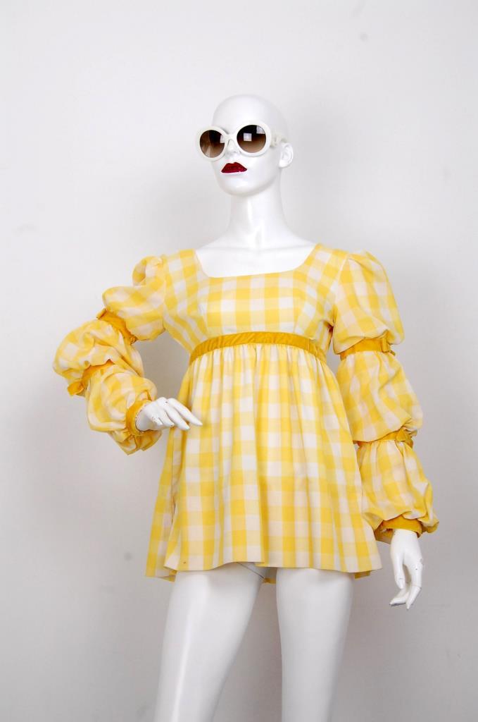 ADR001633 イエローチェック柄ドレス