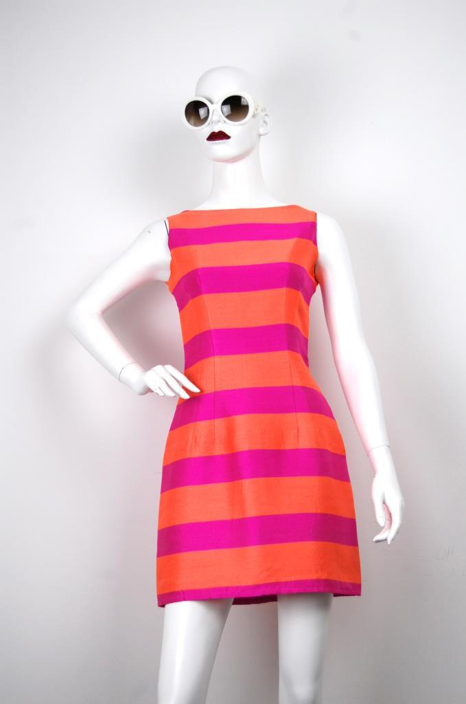 ADR001650 ピンクオレンジストライプドレス