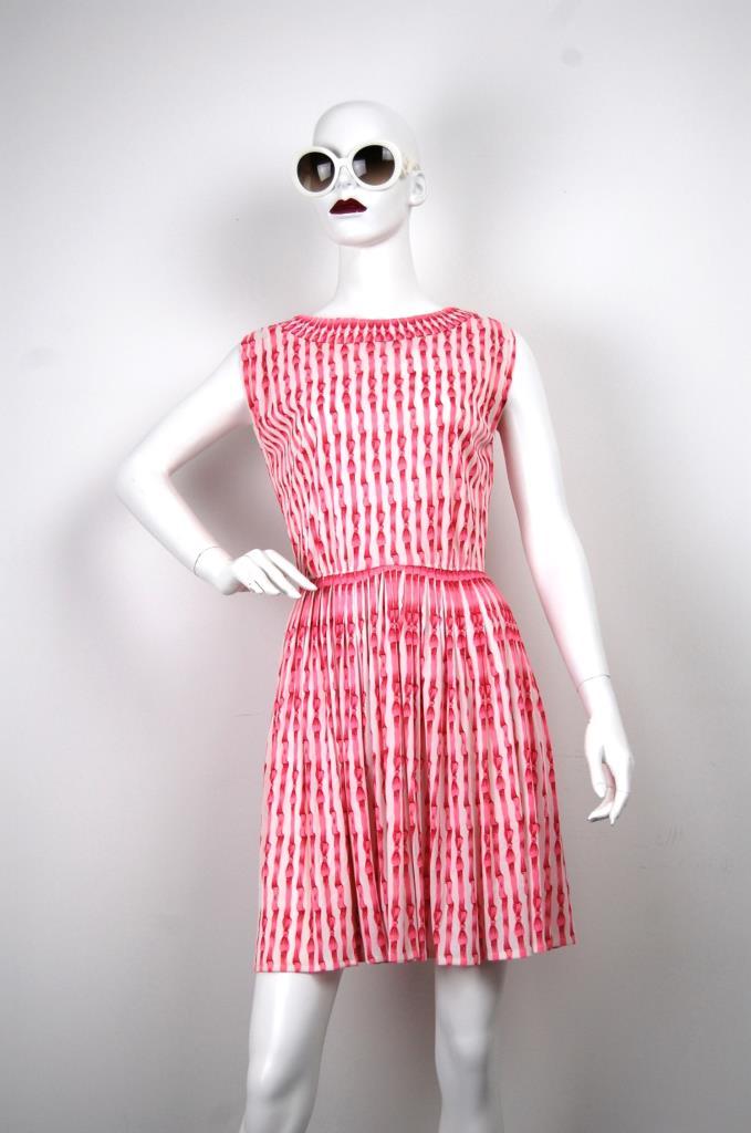 ADR001652 ピンク総柄ドレス