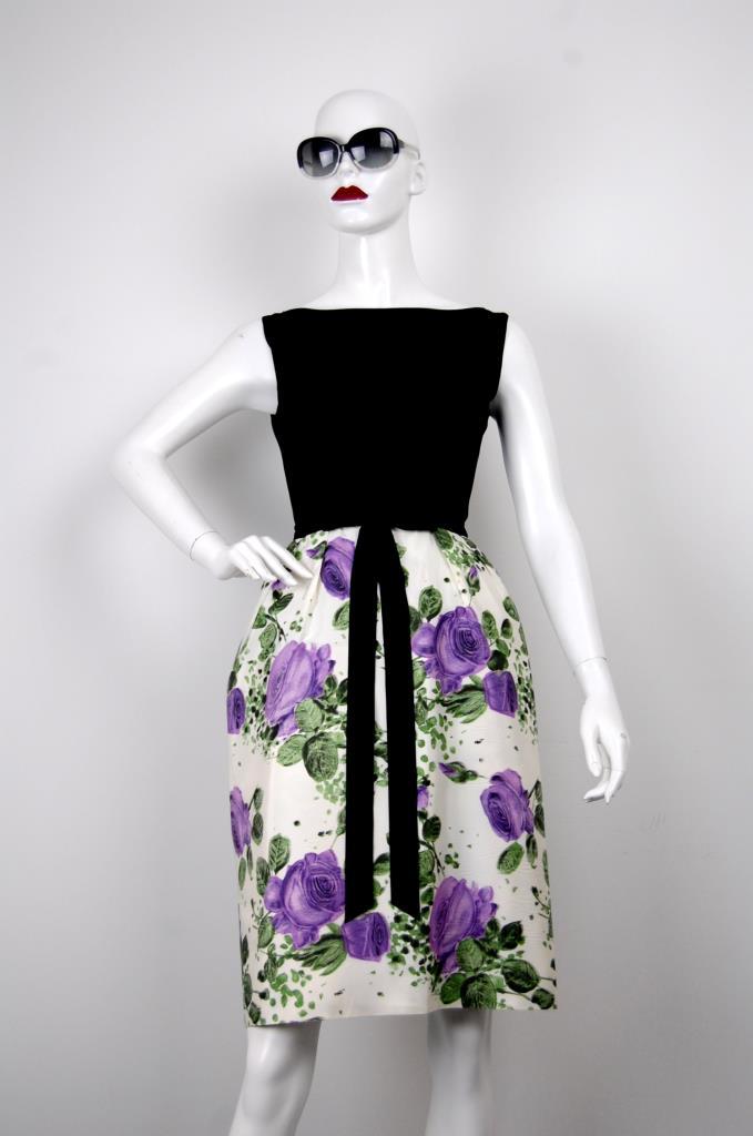 ADR001658 ブラック花柄スカートドレス