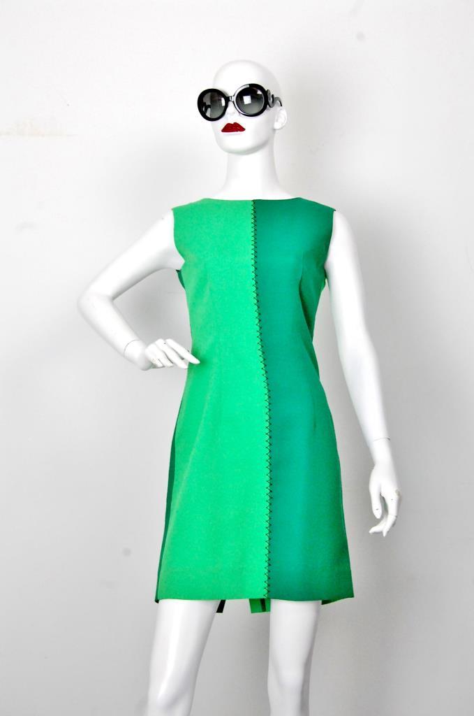 ADR001679 グリーンバイカラードレス