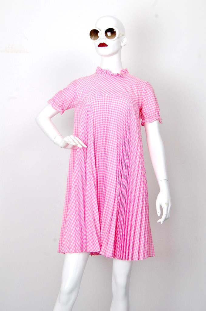 ADR001682 ピンクチェック柄ドレス