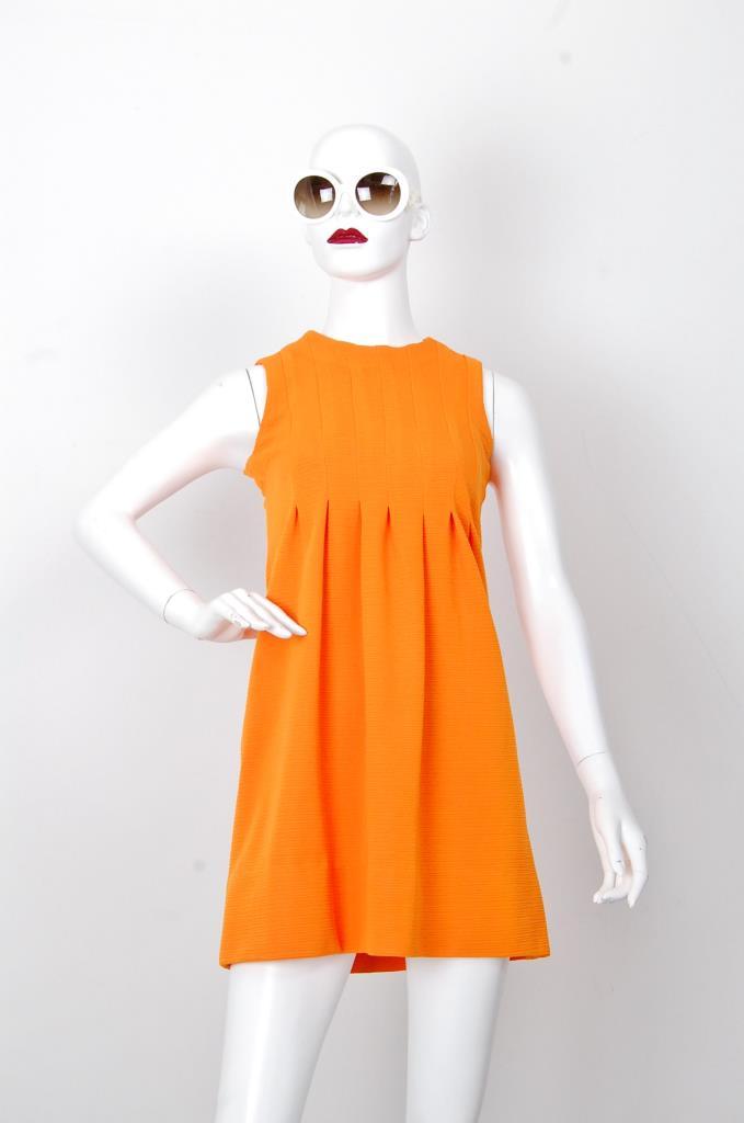 ADR001683 オレンジボックスプリーツドレス