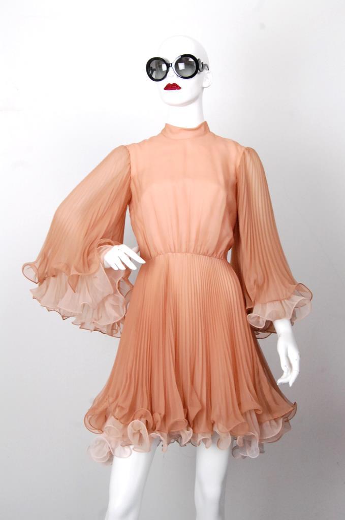 ADR001691 オレンジフレアスリーブドレス