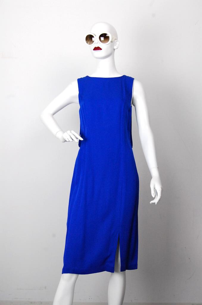 ADR001695 ブルーノースリーブドレス