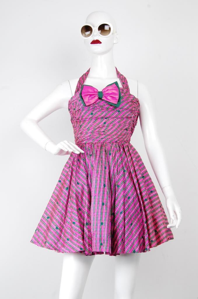 ADR001700 ピンク総柄リボンドレス