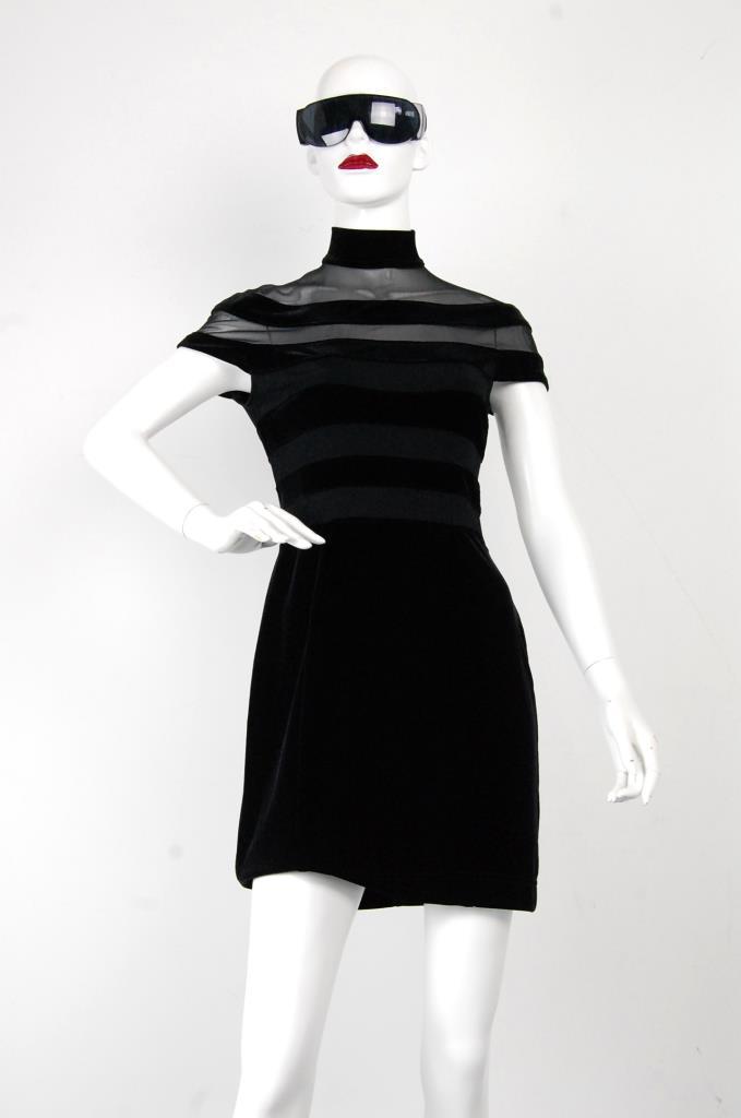 ADR001701 ブラックハイネックドレス