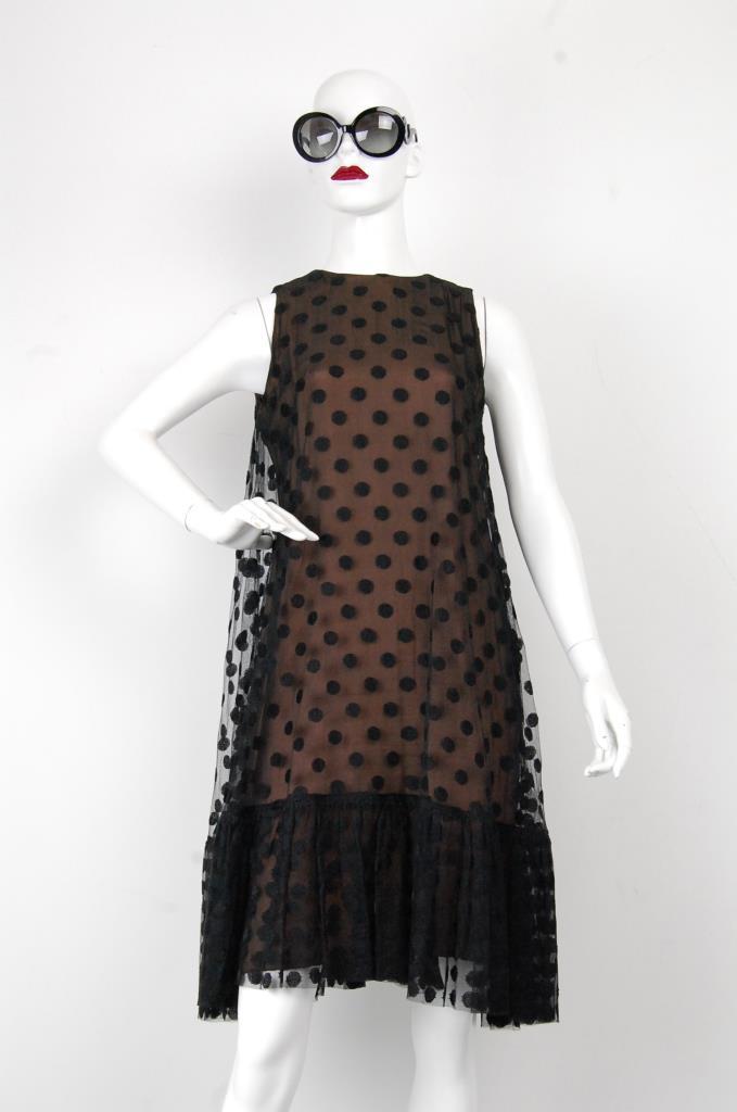 ADR001703 ブラックドッド柄ドレス