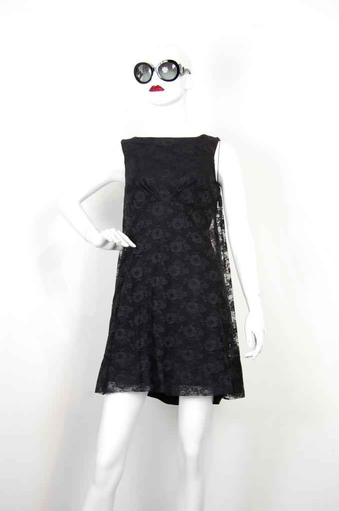 ADR001715 ブラック花柄レースドレス
