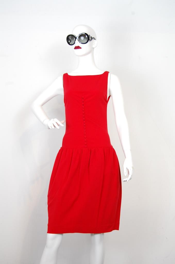 ADR001718 レッドギャザースカートドレス