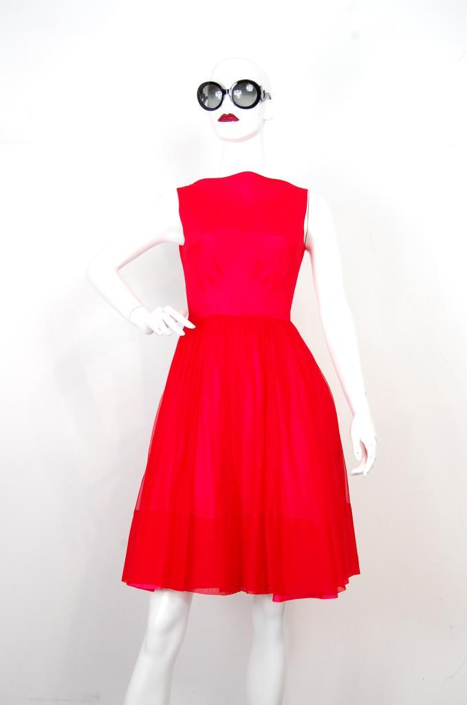 ADR001719 レッドギャザースカートドレス