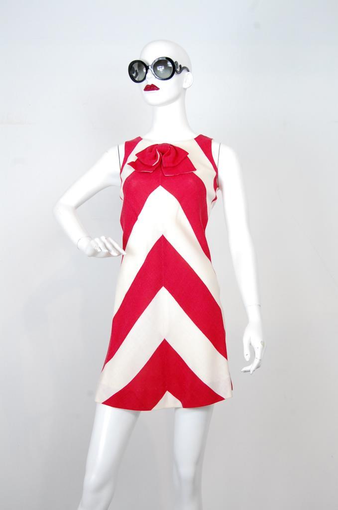 ADR001722 レッドホワイトストライプドレス