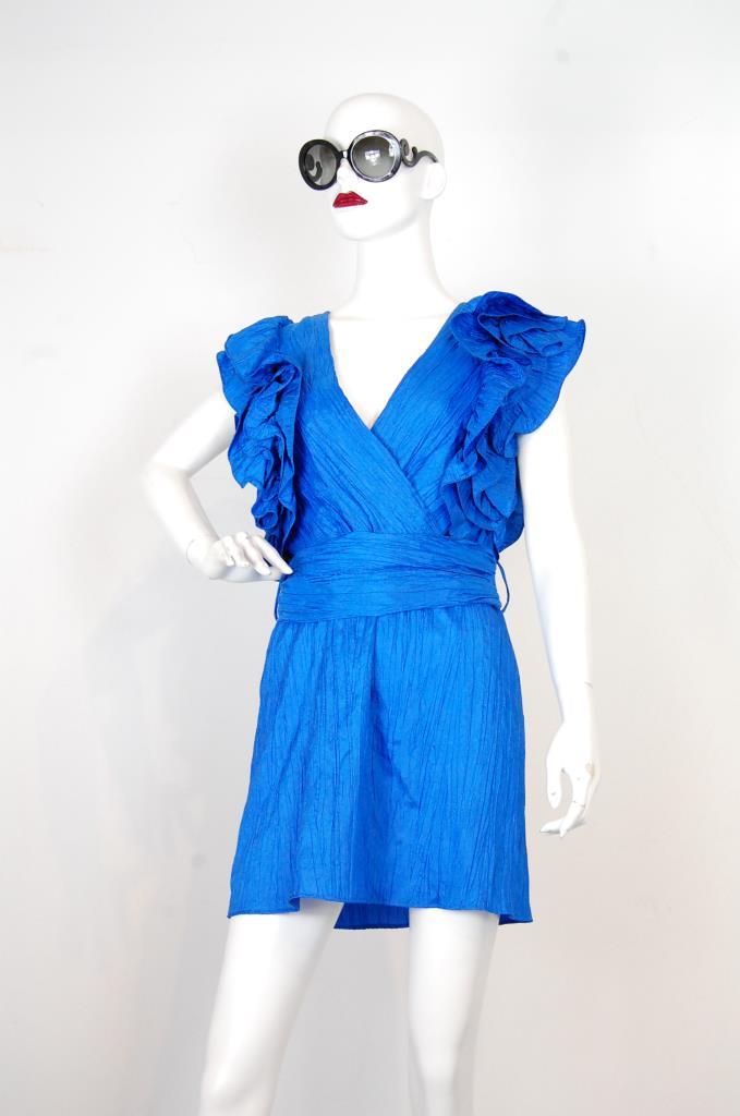 ADR001723 ブルーハンカチスリーブドレス