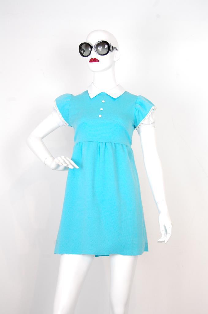 ADR001726 ライトブルーパフスリーブドレス
