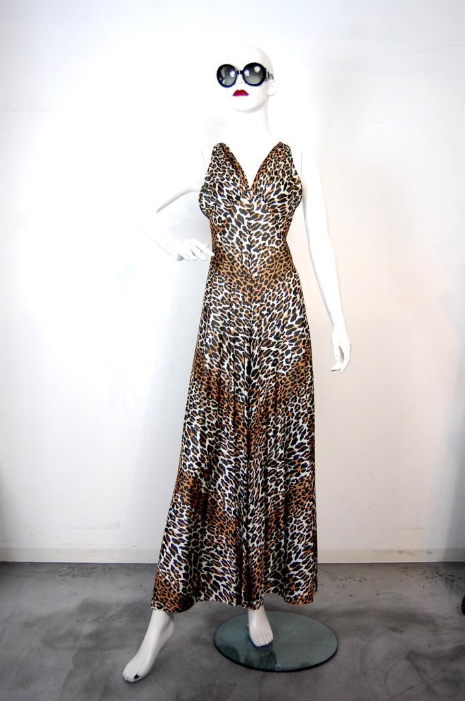 ADR001729 ブラウン豹柄ドレス