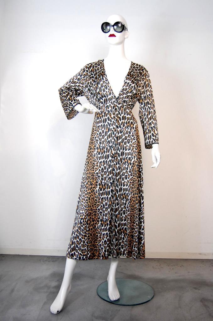 ADR001736 ブラウン豹柄ドレス