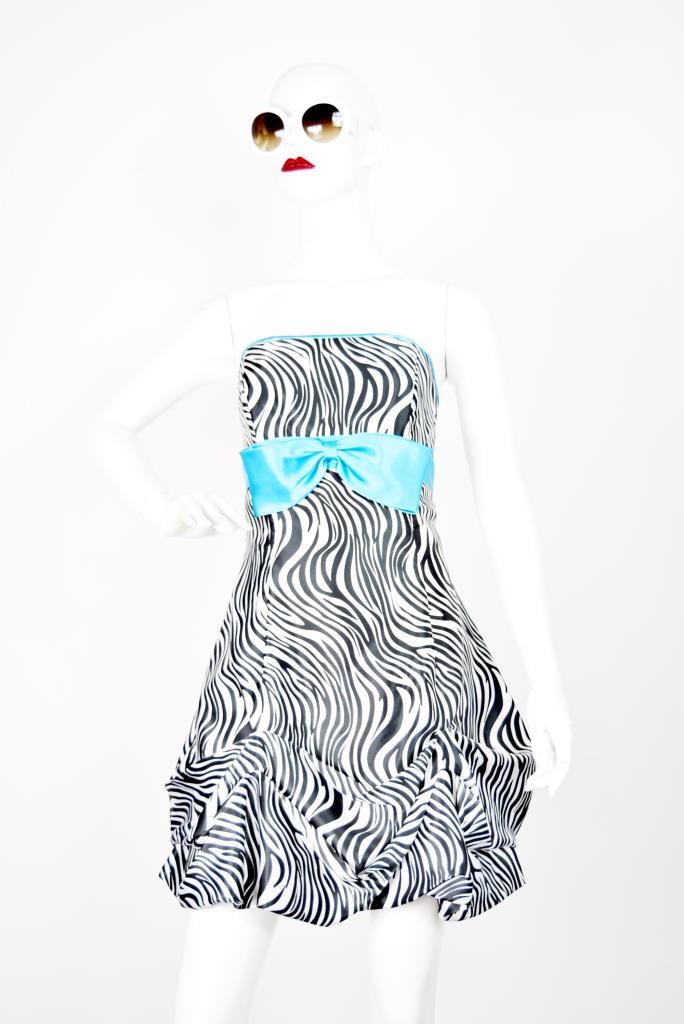 ADR001759 ゼブラ柄ブルーリボンドレス