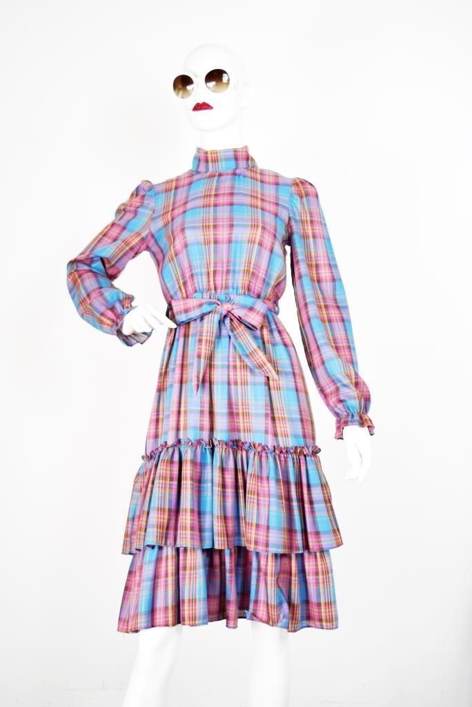 ADR001763 カラフルチェック柄ドレス