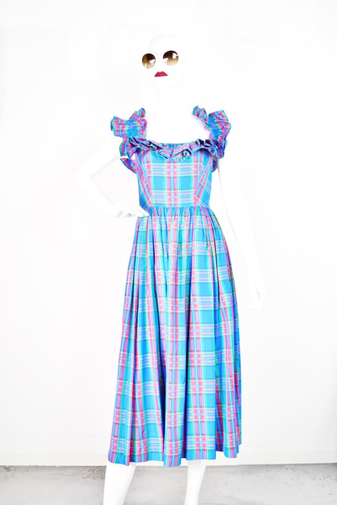 ADR001765 カラフルチェック柄ドレス