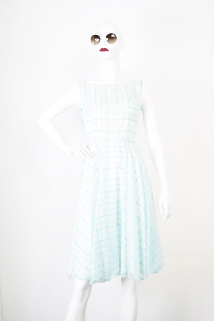 ADR001780 ライトグリーンチェック柄ドレス