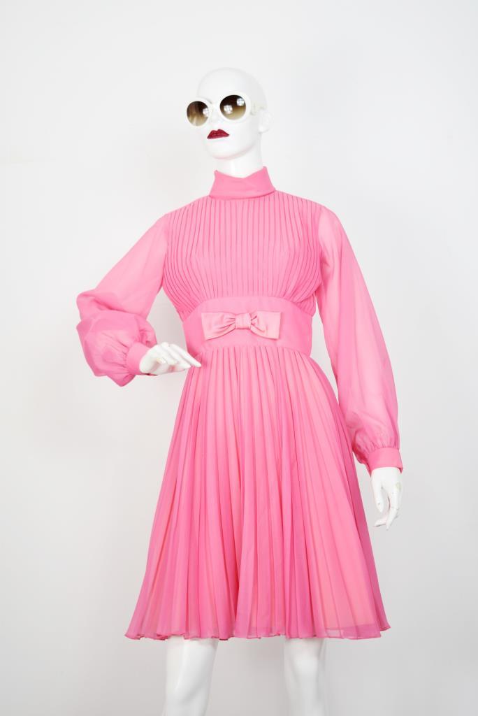ADR001793 ピンクプリーツドレス