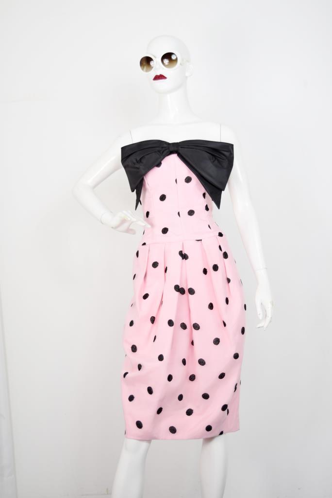 ADR001794 ピンクドッド柄ドレス