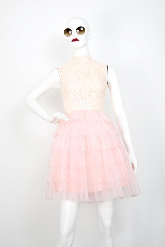 ADR001797 ピンクレースハイネックドレス