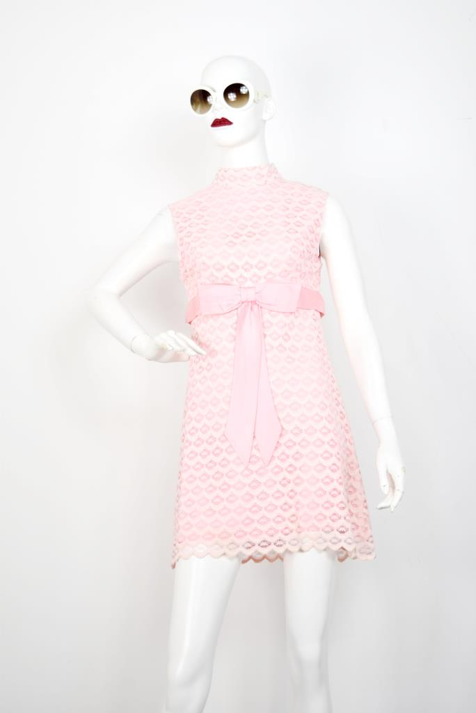 ADR001798 ピンクレースハイネックドレス