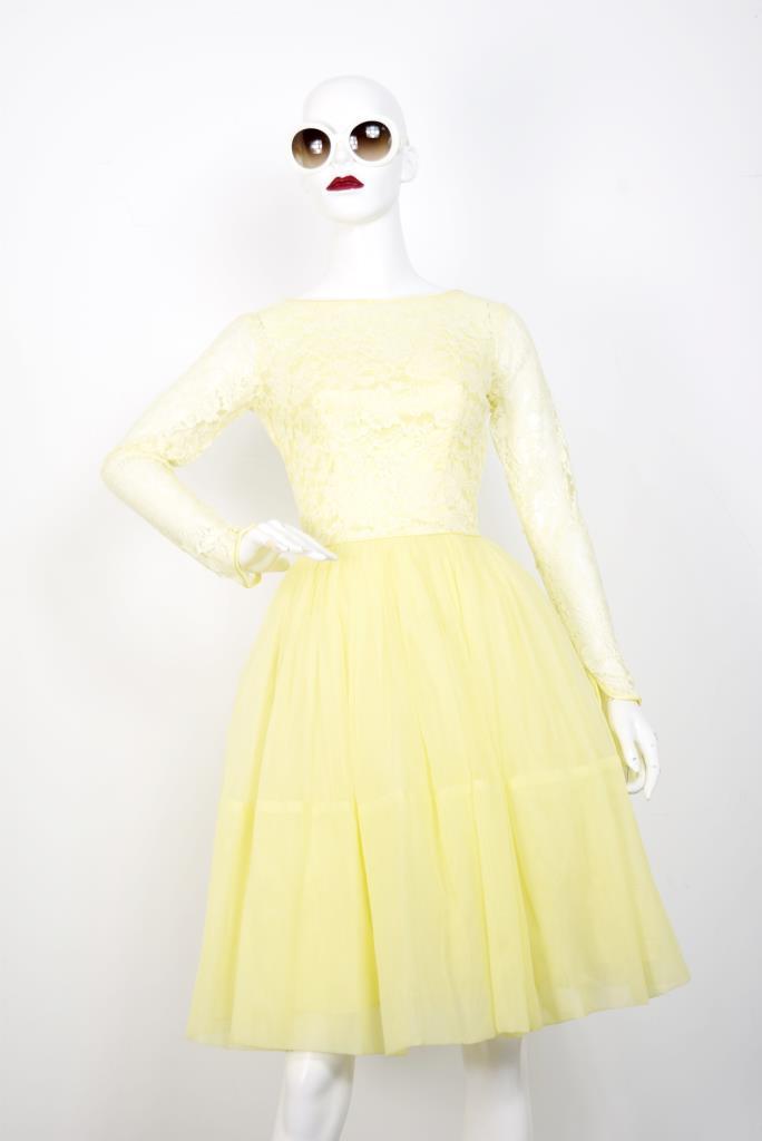 ADR001801 イエロー刺繍ドレス