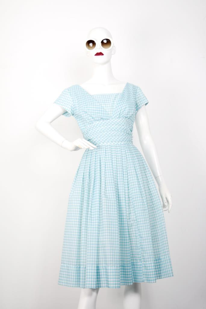 ADR001803 ライトブルーチェック柄ドレス