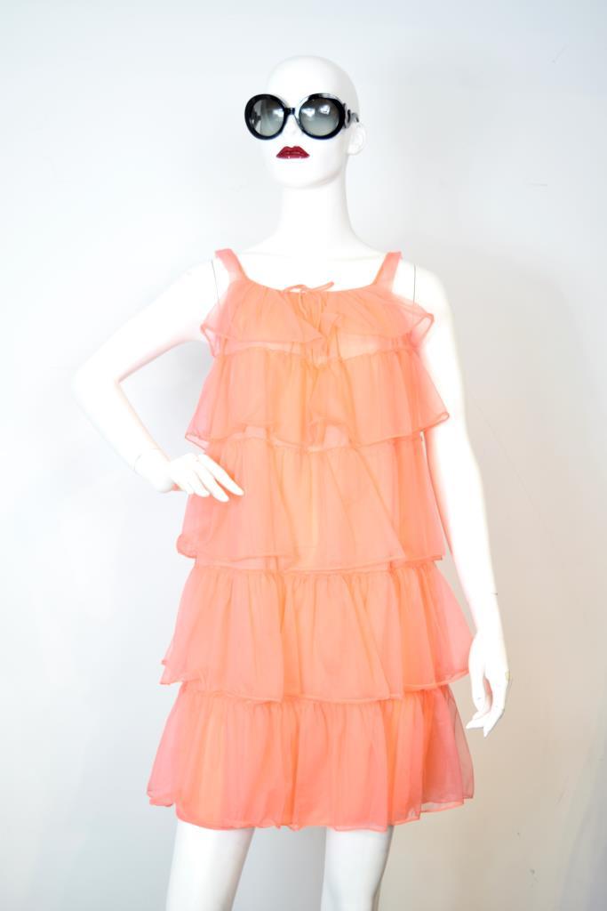 ADR001810 オレンジティアードドレス