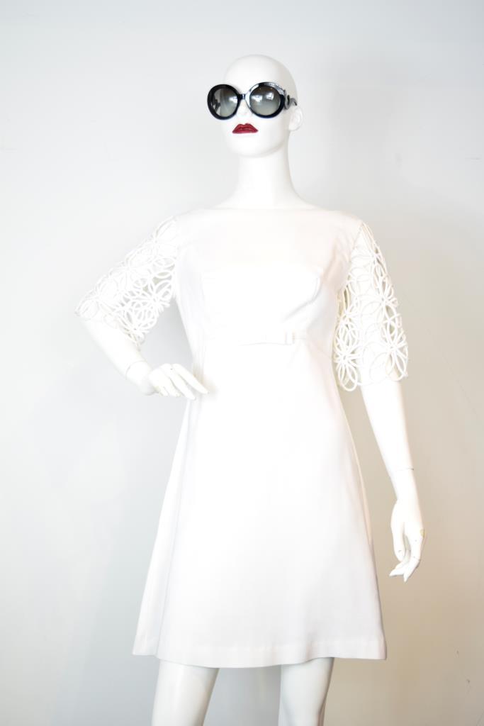 ADR001814 ホワイトレーススリーブドレス