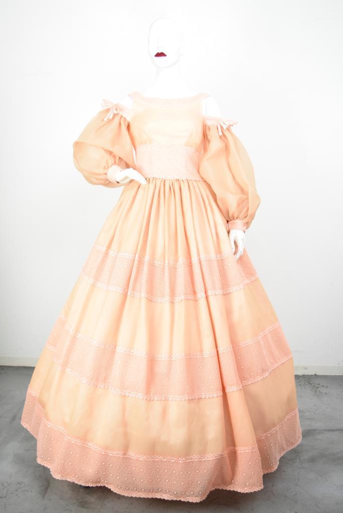 ADR001836 オレンジパフスリーブドレス