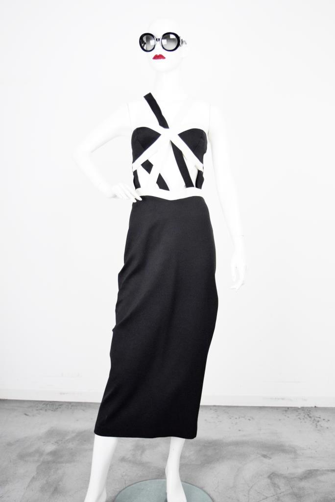 ADR001838 ブラックワンショルダードレス